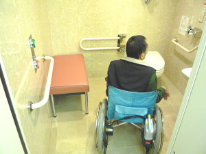 Inside the accessible bathroom