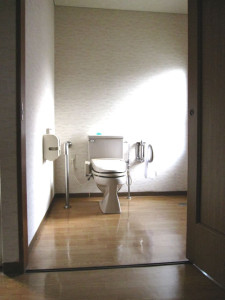 Inside accessible bathroom of a barrier-free room