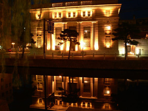 Spotlights of Karakoro Art Studio by night